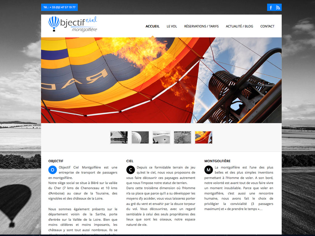 site web OBJECTIF CIEL MONTGOLFIERE