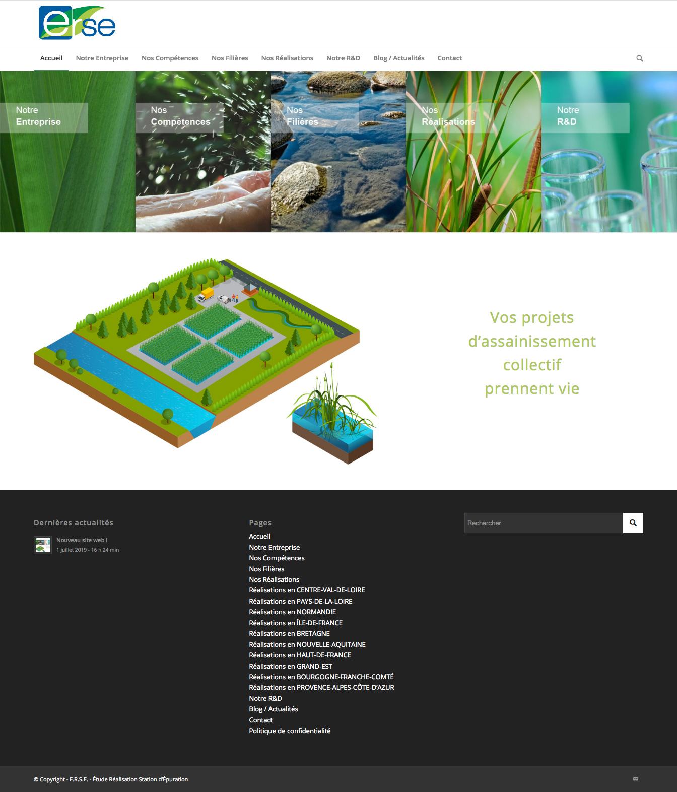 Site web E.R.S.E. - Etude Réalisation Station d'Epuration
